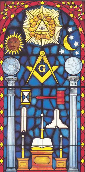 stained glass window of 2 pillars and other Masonic symbols, Tokyo, Japan